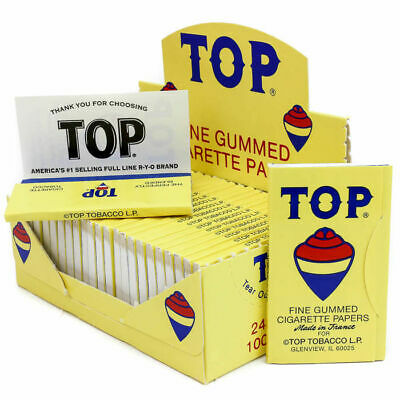 TOP Single Wide Rolling Papers - Box 24 PACKS - Fine Gummed Cigarette Tobacco