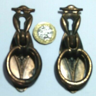 Pair Antique Art Deco Coppered Steel Chest/Cupboard Door Pull Handle