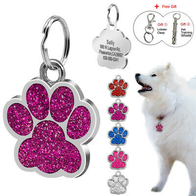 Glitter Paw Personalised Dog Large Tags Disc Disk Pet Puppy ID Collar Tags 38mm