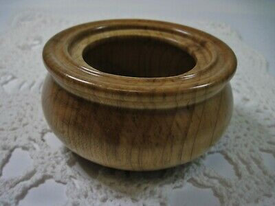 """Hand Crafted Natural Wood Georgia Magnolia Small Bowl Trinket Dish Signed 4.5"""""""