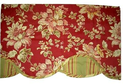 """Traditions by Waverly Grand Bazaar Stripe Red and Blue Floral Scalloped Window Valance 52/""""W x 16/""""L"""
