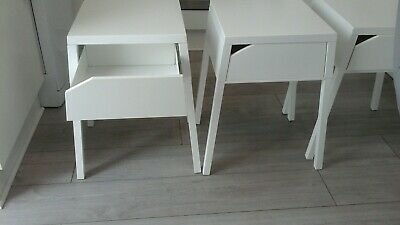 newest collection a8c29 7dc9c SET OF TWO Used pair white bedside tables ikea selije