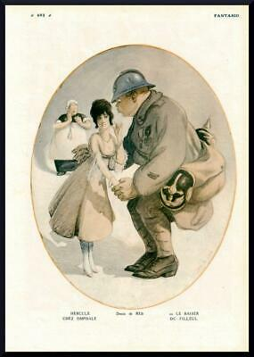 1916 ORIGINAL FRENCH VINTAGE PRINT French Soldier / Sweet Heart by REB (F947)
