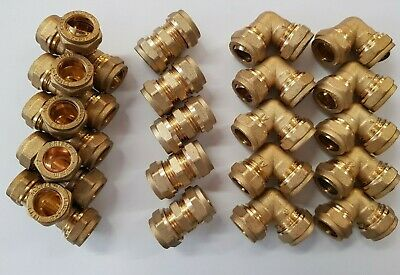 20 x 15mm Brass Compression Fittings Mixed Joblot/plumbing/pipe/pipe fittings