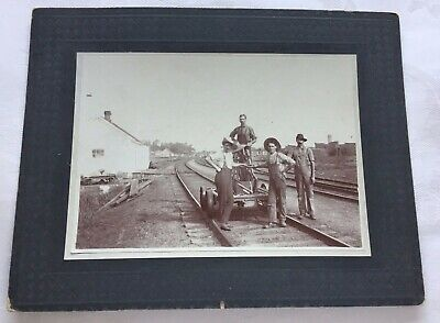 Vintage Original Railway Photo of Handcar with Employees
