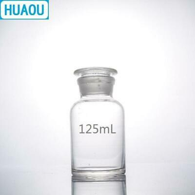 HUAOU 125mL Wide Mouth Reagent Bottle Transparent Clear Glass with Ground in Gla