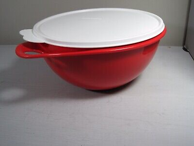 Tupperware ~ White 12 Cup ~ Thatsa Mixing Bowl ~ Red Butterfly Lid CLEAN!