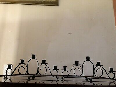 Vintage 1950s 60 wrought iron pair of gothic 5 candle candelabra mantel railing