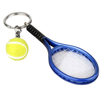 Tennis Ball Racket Keyring Mini Trendy Charm Pendant Sports KeyChain Ring Finder