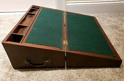 Antique 1800's Victorian Writing Travel Folding Lap Desk Chest with Side Drawer
