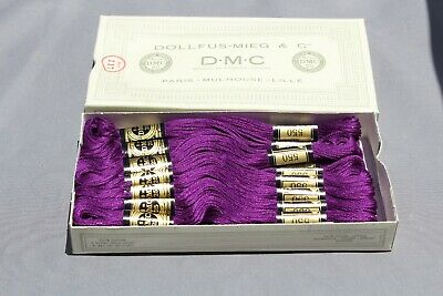 VINTAGE DMC EMBROIDERY FLOSS #550 (Violet) - a box contains 24 skeins