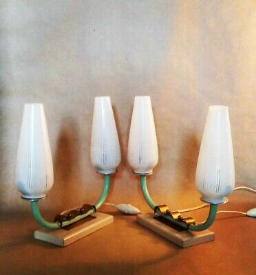 Pair of vintage art deco table lamps, brass wood and glass, France 1930s / 50s