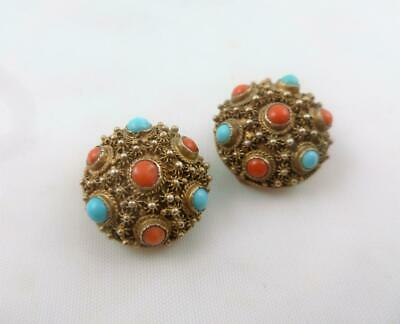 Antique Chinese Silver Gilt Filigree Turquoise Coral Stone Clip Earrings c1920