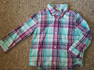 GYMBOREE Blue and Pink Plaid Long Sleeved Button Front Shirt Boys Size 3T