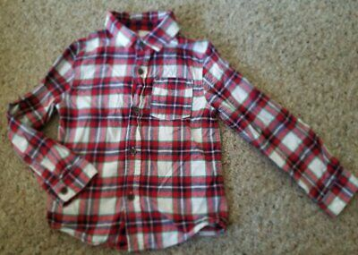 CAT & JACK Red Plaid Long Sleeved Button Front Flannel Shirt Boys Size 5T
