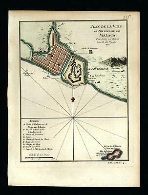 Malaca Malacca Indonesia fortress c.1750 Bellin charming map lovely hand color