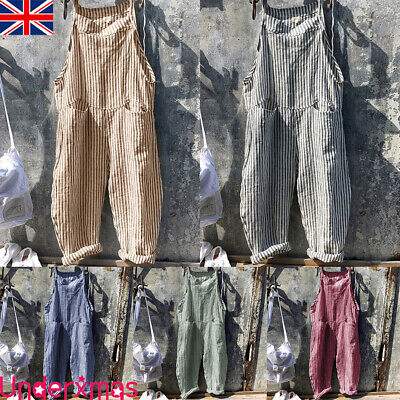UK Women Stripe Straps Jumpsuit Dungarees Playsuit Loose Harem Trousers Overalls