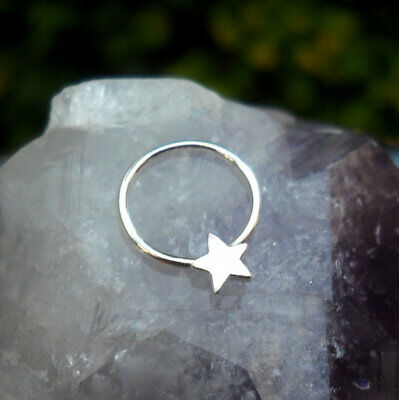X2 10mm Sterling Silver silver Hoop Ring Nose Star Cartilage Septum Tragus
