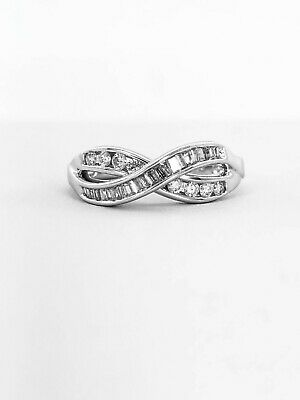 1.00 Ct. Genuine Natural Crossover Diamond Ring Real Solid 14k White Gold VS1