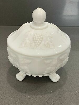 Vintage Milk Glass Covered Footed Candy Dish with Lid Grape Pattern