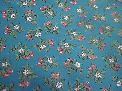 Vintage Pink & Whte Floral On Dk Turquoise Cotton/Quilt/Sew/Craft Fabric ~1Yd