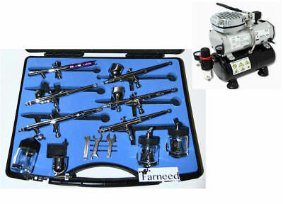 Kit Airbrushing Airbrush 6 Airbrushes Double Action Compressor Tank A6 18-6