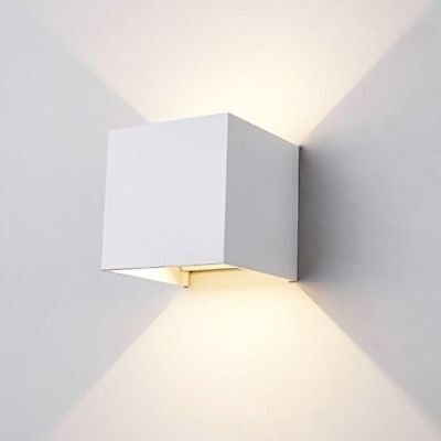 Applique Interior Exterior Led Cubo Lámpara Pared Pared 6W Doble Luz Cálida 236