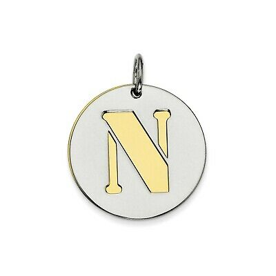 Sterling Silver GP Initial N Double Plate Round Charm (0.8in)