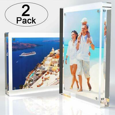 2-Pack | Clear Acrylic Double-Sided Landscape/Portrait Magnetic Block Frame 5x7″