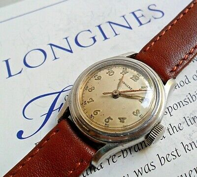 HTF Stainless Steel Vintage 1940's Lady's Longines Swiss Mechanical Watch Runs