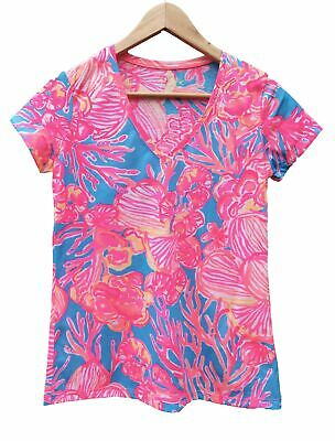 42f41498eb0bba New Lilly Pulitzer MICHELE V-Neck Top T-Shirt Tee Sparkling Fan Tastic S
