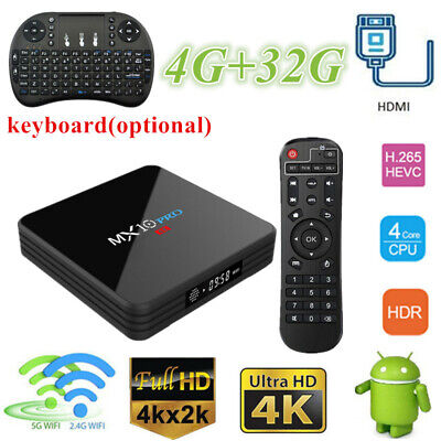 Lot MX10 Pro TV Box 4G+32G Quad Core Dual Wifi 4K RK3328 Media Android +Keyboard