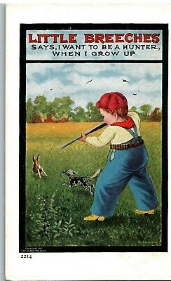 Postcard Little Breeches Says I Want To Be A Hunter When I Grow Up Ullman  c1907