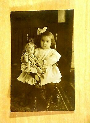 Young Girl Posing with Doll Large Image Photo Postcard Pressed Back Rocker c1907