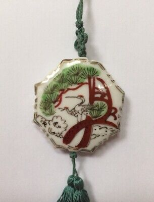 """Vintage Hand Painted Chinese Porcelain Pendant Double Tassels & Knot on 28"""" Cord"""