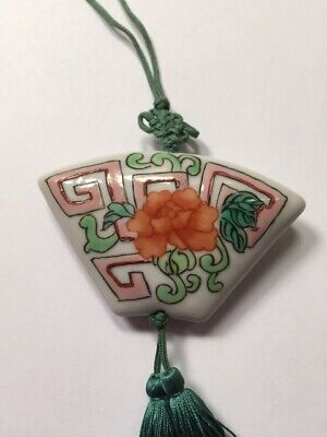 """Vintage Hand Painted Chinese Knot Porcelain Pendant Double Tassels on 28"""" Cord"""