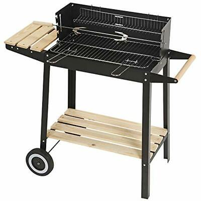 Outdoor Trolley Charcoal Rectangular Steel BBQ Barbecue Grill Outdoor Patio Home