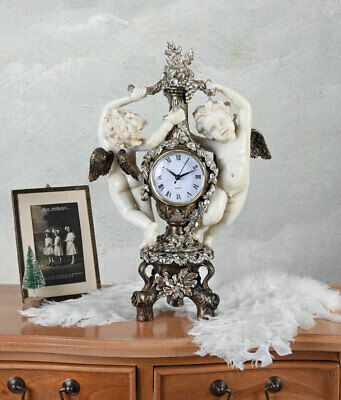 Mantel Clock Angel Watch Putting Antique Table Baroque Deco Figurine Guardian