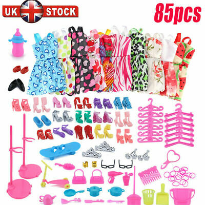 Barbie Doll Dresses, Shoes and jewellery Clothes Accessories 85pcs/Set UK
