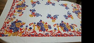 Vintage Tablecloth Flower Floral Print Wilendur No Tag   Red Blue Yellow  53X58