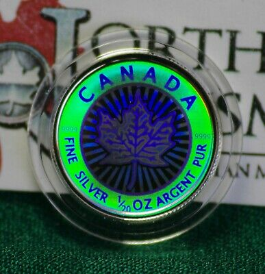 2003 CANADA $1 Hologram Silver Maple Leaf 1/20 oz Reverse proof 99.99% silver