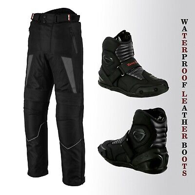 Motorbike Racing Trousers Leather Short Touring Boots Adventure Waterproof Armor