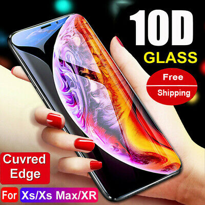 For iPhone XS Max XR X 10D Curved Full Coverage Tempered Glass Screen Protector