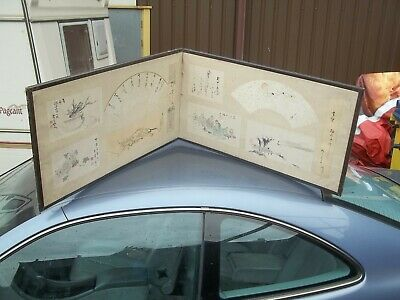 Antique Late 19Th Century Japanese Hand Painted Artist Signed Screen Panel.