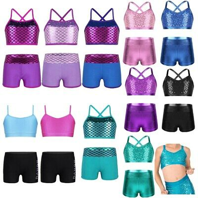 Kids Girls Metallic Leotards Dance Sport Outfits Dancewear Active Gym Workout
