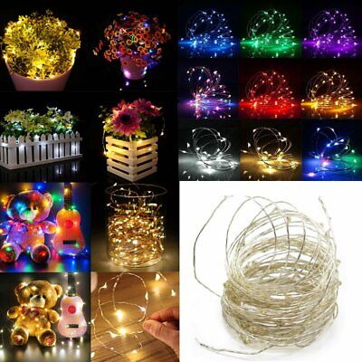 10M Small Micro LED Fairy Xmas Lights Copper/Silver Wire Button Battery Powered