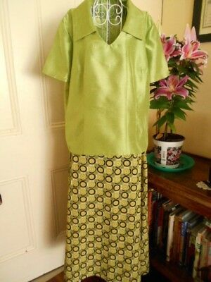 Vintage Two Piece Outfit Skirt & Top Bright Fabric