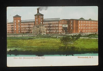 1900s Alice Mill Woonsocket Rubber Co. Factory Industrial Woonsocket RI Postcard