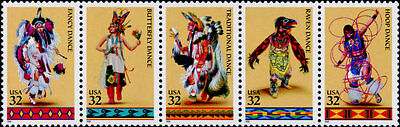 1996 32c American Indian Dances, Strip of 5 Scott 3072-76 Mint F/VF NH