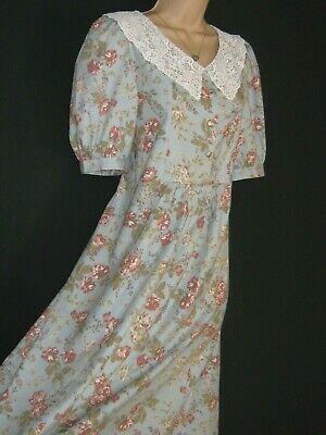 Laura Ashley Vintage Regency Style Rose Garden Lace Collar Summer Dress,10/12